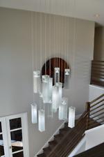 Foyer chandelier lighting, fused art glass pendant lights, wrinkled white/clear