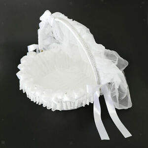 Wedding Flower Girl Basket With Tulle Lace Satin Flower Diamantes Ribbon Bowknot