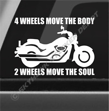 2 Wheels Move The Soul Inspirational Motorcycle Sticker Vinyl Decal for Car SUV