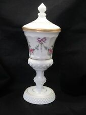 "WESTMORELAND MILK GLASS Hand Painted FLORAL COMPOTE Cover 13"" Tall MINT"