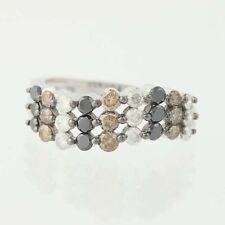 NEW Diamond Ring -14k White Gold Black, white, & Champagne Brown Round 1.00ctw