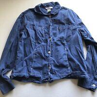 Fresh Produce Blue Long Sleeve Button Down Shirt Womens Sz L A434