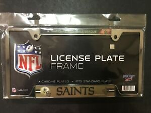 New Orleans Saints Metal License Plate Frame Chrome Finish FREE SHIPPING