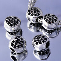5Pcs black crystal Silver Heart BEADS Fit European Charm Bracelet free shipping