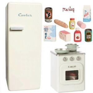 Maileg Vintage Mini Oven Stove+ Fridge +Cookware & 9pcs Food Set Toy 4 sets Left