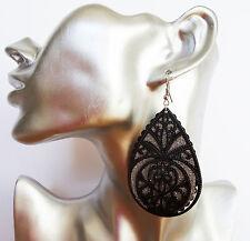 Splendido Argento Glitter a Goccia Dangle Orecchini Pendenti con Design a DISCO NERO