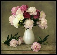 Peony Bouquet in Vase - Chart Counted Cross Stitch Pattern Needlework Xstitch