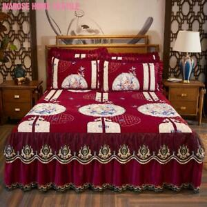 Luxury Velvet Quilted Fitted Bed Sheet Bedspread Side Coverage 17 inch Drop Dust