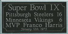 Super Bowl 9 engraving, Pittsburgh Steelers