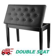 Double Seat Chair PU Leather Padded Piano Keyboard Stool Multifuction Holder BG
