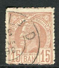 ROMANIA;  1885 early Prince Carol issue fine used 15b. value, fair Postmark