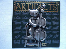 "Vintage Signed JJ  ""Silver pewter Cat on Chair playing Cello"" Brooch/Pin"