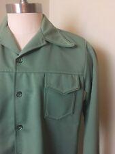 VTG Time Out Mint Green leasure suit POLY WESTERN SHIRT-JAC LARGE jacket  70s
