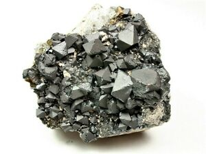 MINERALS : OCTAHEDRAL MAGNETITE CRYSTALS  ON MATRIX FROM BOLIVIA
