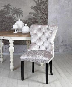 Dining Chair Velvet Silver Living Room Upholstered Luxury Kitchen