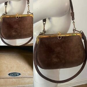 Rayne Vtg 50s 60s Luxury Brown Designer Brown Suede Gold Clasp Purse Bag