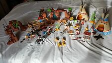 PLAYMOBIL HUGE BUNDLE OF COWBOYS AND INDIANS TEPEE'S HORSES CAMP FIRE BEAR SKIN