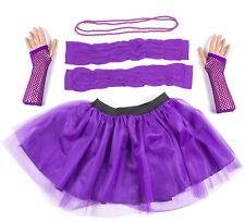Purple Neon UV Tutu Set Skirt Gloves Leg Warmers Necklace Womens 80s Fancy Dress