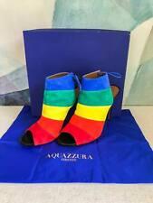 Aquazzura Rainbow Suede Calf Ankle Boot Heels Peep Toe Sandals SZ 41 W/ Box SALE