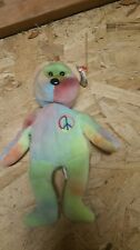 TY BEANIE BABY PEACE BEAR MWMT'S ~NEON YELLOW & GREEN PALE FOREHEAD~ #102 CAPS
