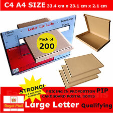 200 x CARDBOARD POSTAL BOXES SIZE C4 - A4 ROYAL MAIL LARGE LETTER STRONG BOX