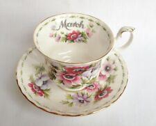 Royal Albert flor del mes de marzo anémonas té taza y platillo 1st Calidad
