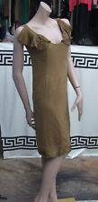 Designer Chloé Fabulous Short Khaki Dress with Fan Wing Collar Sz S /UK 8