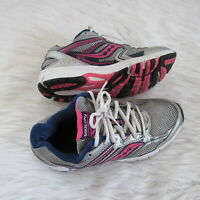 Saucony Womens Running Shoes Size 9 Silver Blue Pink Laces Comfort Workout