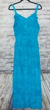 a1a7bee861 Faded Glory Maxi Dress Size 1X (16W) Womens TEAL BLUE PATTERNED EUC