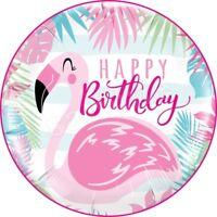Geburtstag Flamingo Birthday Eßbar Tortenaufleger NEU Party Deko dvd Kuchen