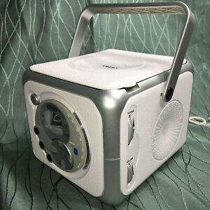 Jensen CD-555 White/Silver CD Bluetooth Boombox Portable Music System