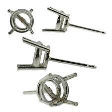 Platinum Round Stud Earring Mounting Setting Push Back Post 4 Prong