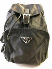 Prada Women's Black Nylon Backpack Bag with Leather Strap