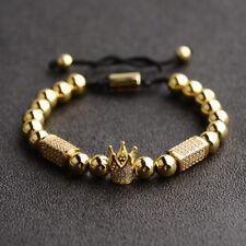 Luxury Crown Macrame Bracelets Zircon Rectangle Copper Bead Handmade Bracelets