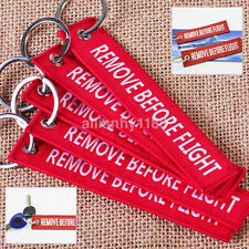 Hot 5x Red Remove Before Flight Key Chain Pendant Woven Embroidery Keychain UK