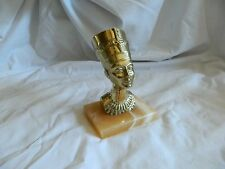 "Egyptian Brass Yellow Nefertiti Statue On Alabaster 5.5"" (Sale)"