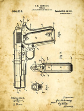 Browning Colt 45 Pistol Patent Drawing Metal Sign, Vintage, Mancave, Den Décor,
