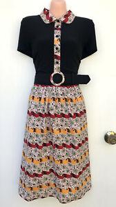 *NWT* LEONA EDMISTON *Frocks* Cotton & Jersey Belted Dress Vintage Styled 2/12