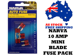 Narva 52710BL 10 AMP MINI Blade Fuse Pack - Car Amplifiers, Auto Electrical