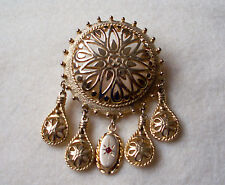 VENDOME Round Medallion Pin w/dangle charms