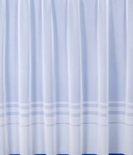 Modern Stripped Plain White Net Window Curtain 4000 Straight Bottom All Sizes 54 Inches ( 137 Cms.)