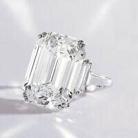 Classic 2.61 Ct Emerald Cut W/ Baguette Three Stone Diamond Engagement Ring VVS2