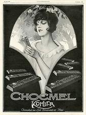 """""""CHOCOLAT CHOCMEL KOHLER"""" Annonce originale entoilée L'ILLUSTRATION 26/6/1926"""