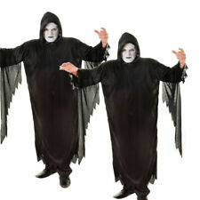 Demon Scream Costume Adults Grim Reaper Robe Halloween Fancy Dress Outfit New