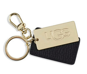 UGG Leather Tag Key Fob Charm Key Ring New Logo Black Gold Tone