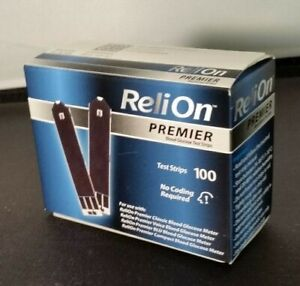 RELION PREMIER TEST STRIPS 1 BOX of 100 ea; BRAND NEW UNOPENED. exp 12/22