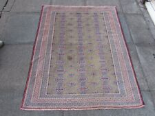 Vintage Worn Hand Made Traditional Oriental Wool Green Small Rug 153x122cm