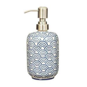 Sass & Belle Blue Wave Soap Dispenser Japandi Bathroom Ceramic Pump Bottle