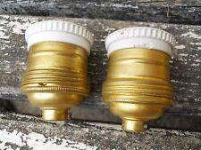 2 Douilles en porcelaine et cuivre lampe Gras Muller Industriel Loft Lampadaire
