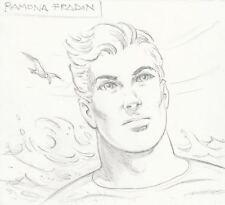 Signed Ramona Fradon Original JLA DC Comic Art Sketch ~ Aquaman / Super Friends
